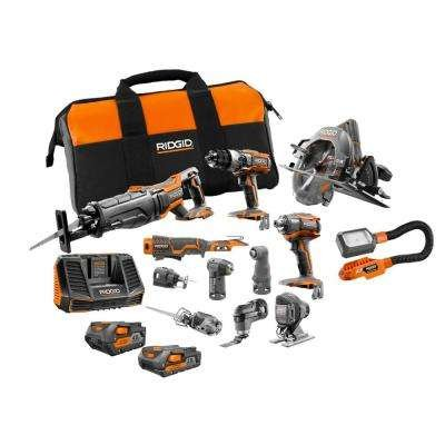 RIDGID 18-Volt Lithium-Ion Cordless (12-Piece) Combo Kit with (1) 4.0Ah Battery and (1) 2.0Ah Battery, Charger and Bag (Combo Kit Ridgid)
