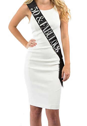Dulcet Downtown Black Satin 50 & Fabulous Birthday Sash with Silver Glitter Lettering]()