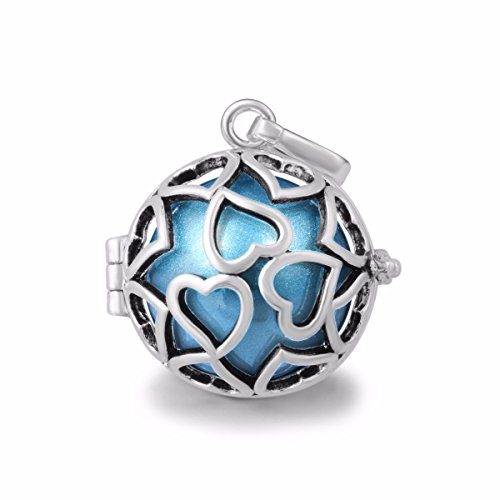 Bonyak Jewelry 18 Inch Rhodium Plated Necklace w// 6mm Light Blue September Birth Month Stone Beads and Saint Odilia Charm