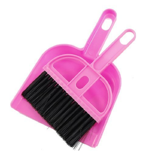 Office Home Car Cleaning Mini Whisk Broom Dustpan Set Pink Black Water & Wood AEQW-WER-AW140107