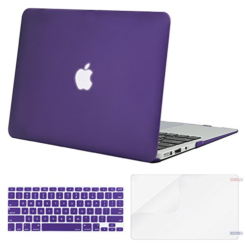 Mosiso Plastic Hard Case with Keyboard Cover with Screen Protector for MacBook Air 13 Inch (Models: A1369 and A1466), Ultra Violet