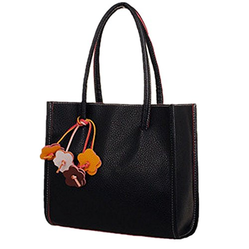 Birdfly Cute Floral Decorate PU Leather Shoulder Bag Handbags Tote for Women Girl (one size, Black)