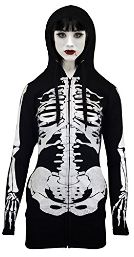 SKYLINEWEARS Women Open Face Skeleton Hoodie Sweatshirt Halloween Costume Long Hoodie Black M