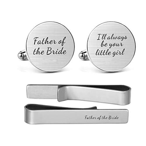 (MUEEU Father of The Bride Cufflink Engraved I Will Always Be Your Little Girl Dad Father Tie Bar (Round Cufflinks and Tie Clip))