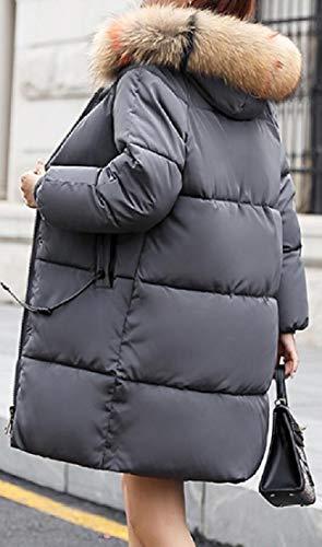 Thicken Jacket Outwear Winter Fur EKU Women Long Parka Hood Gery Faux q8a5xaCw