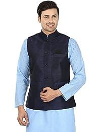 Kurta Men's Traditonal Silk Blended Nehru Waistcoat Jacket