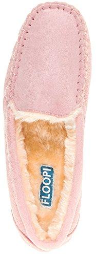 Floopi Womens Indoor Outdoor Fuax Fell gefüttert Mokassin Slipper W / Memory-Foam Rosa-306