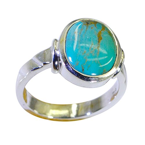 (Jewelryonclick Oval Shape Genuine Turquoise Ring Silver Bezel Setting Birthstone Available in Size 4-12)