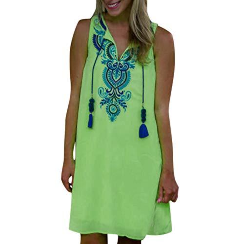 (Sunhusing Ladies Bohemian Ethnic Style Print Braided Rope Fringe V-Neck Sleeveless Vintage Party Mini Dress Green)