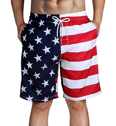 Hlvexh Swimming Trunks for Teen Boys Juniors USA Flag Swim Shorts with Pockets Small for $<!--$21.99-->