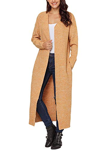 Cable Cashmere Sweater (HOTAPEI Women's Plus Size Autumn Winter Pockets Long Mitten Cable Knitted Long Sleeve Loose Open Front Drape Cardigan Sweaters Yellow XXL)