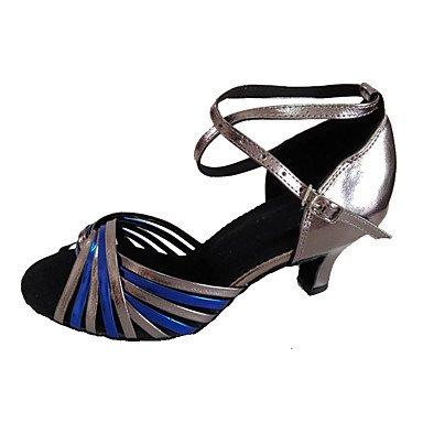 XIAMUO Angepasste Frauen Kunstleder Tanz Schuhe für Latein und Salsa, Bronze, Us7.5/EU38/UK5.5/CN 38