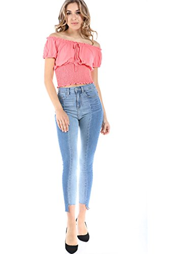 - SALT TREE Women's Two Tone High Rise Asymmetrical Hem Skinny Jeans