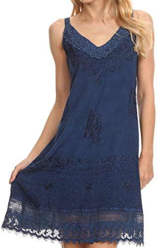Sakkas 1107 - Ameelynn Short Embroidered Batik Festival Sleeveless Spaghetti Strap Dress - Navy - 1X/2X