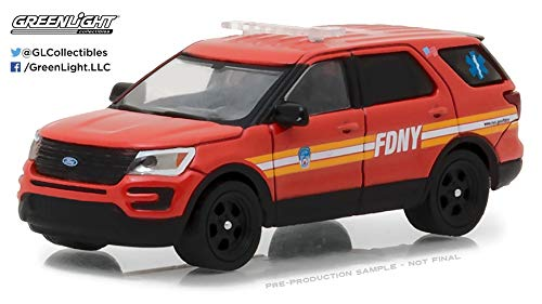 2016 Ford Explorer Fire Department City of New York (FDNY) with FDNY Squad Number Decal Sheet Hobby Exclusive 1/64 Diecast Model Car by Greenlight 42823