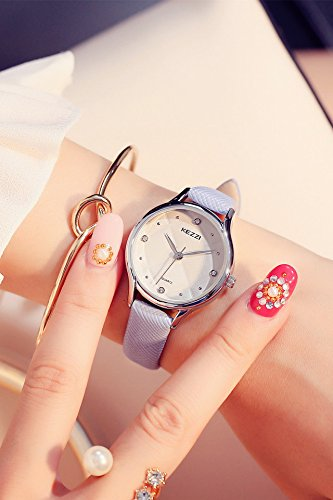 Generic Ke_Purple_Korean_style sweet simple_ women girl _jacket_with_small_beauty-water_drilling_gold_jelly_quality_ watch es_ women girls students .