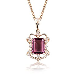 Pink Green Tourmaline Diamond Pendant