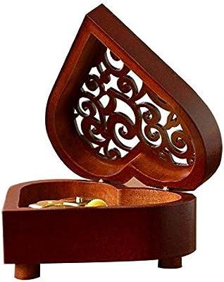 Cajas Musicales Caja de Música Caja de música Creativa en Forma de corazón Vintage Tallada en Madera Caja Musical Wind Up Music Box Regalo for Navidad/Cumpleaños/Día de San Valentín Caja de Música: