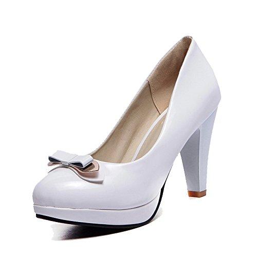 Odomolor Damen PU Leder Rund Zehe Hoher Absatz Eingelegt Pumps Schuhe Weiß