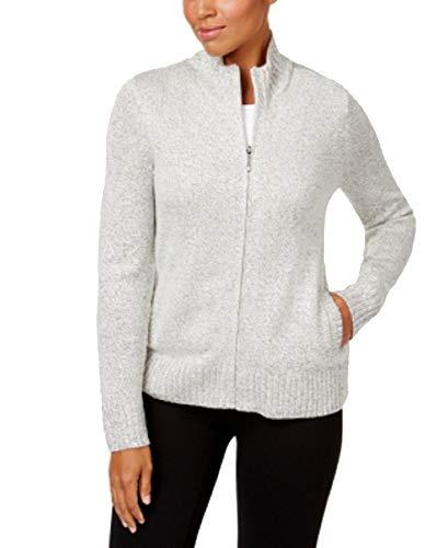 Karen Scott Petite Zip-Front Cardigan Sweater (Chestnut, PS)