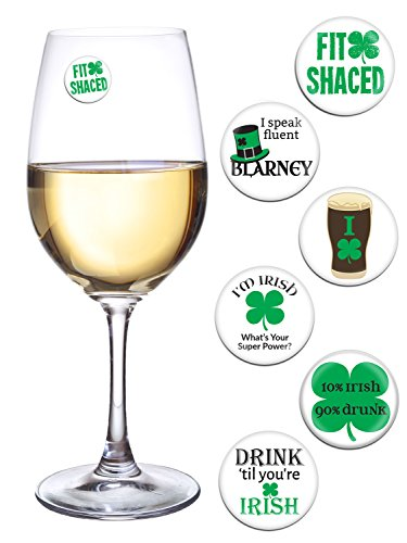 St Patricks Day Decorations for Your Wine Glass or Beer Mug Set of 6 Magnetic Wine Charms Fun for a Parade, Pub Crawl, Party Favors]()