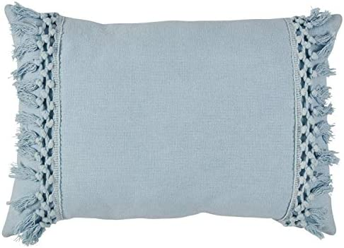 Amazon Brand Rivet Modern Macrame Fringe Lumbar Throw Pillow – 18 x 12 Inch, Blue