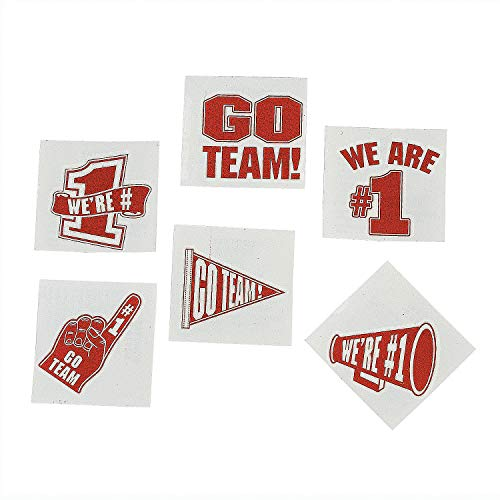 Red Go Team - We are Number 1 Temporary Tattoos (Set of 72) School Spirit Supplies from Fun Express