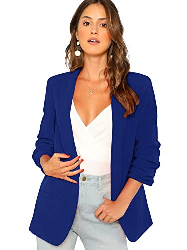 (SheIn Women's Shawl Collar 3/4 Ruched Sleeve Open Front Blazer Jacket Medium Blue)