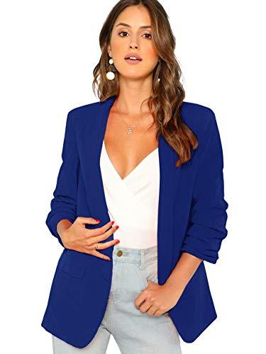 (SheIn Women's Shawl Collar 3/4 Ruched Sleeve Open Front Blazer Jacket Medium Blue)