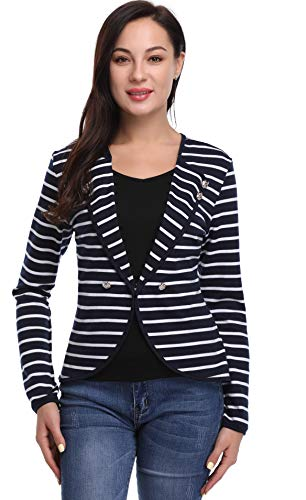 Argstar Womens Lapel Striped Button Decor Lightweight Blazers,Navy/White,X-Large by Argstar