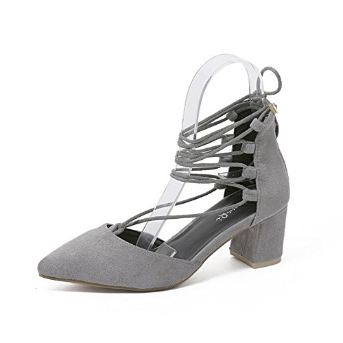 AgooLar Women's Solid Frosted Kitten-Heels Zipper Pointed Closed Toe Sandals Gray