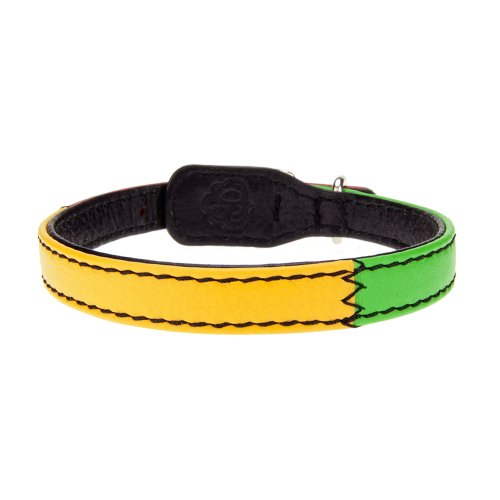 Bitch and Stud Chic Italian Leather Dog Collar, Size 2, Reggae
