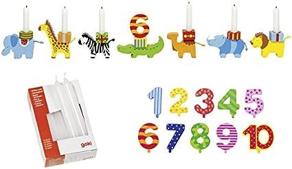 Set 10 Stück für Geburtstagszüge Goki 15051 Geburtstagskerzen weiß