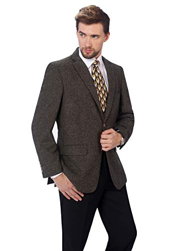 Brown Herringbone Blazer - P&L Men's Premium Wool Blend Business Blazer Dress Suit Jacket Brown