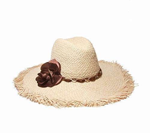 Gottex Women's Coco Cay Raffia Straw Packable Sun Hat With Fringe, Natural/Brown, One - Sunglasses 2015 Beautiful