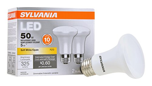 Sylvania 73993 SYLVANIA Contractor Series LED R20 Reflector Lamps, 5W, Replaces 35W Incandescent, Plastic Bulbs, 2700K Warm White Color Temp, Dimmable Down to 10%, 11, 000 Hours (Pack of 2)