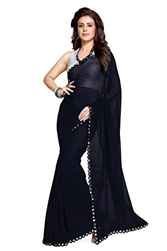 Mirchi Fashion Women's Navy Blue Faux Georgette Mirror Lace Work Party Wear Saree