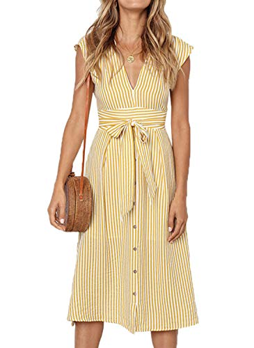 PRETTYGARDEN Women's V Neck Striped Bow Tie Waist Sleeveless Button Down Swing A Line Midi Dress (Yellow, Small)