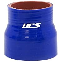 """HPS Silicone Hoses HTSR-225-325-BLUE Silicone High Temperature 4-ply Reinforced Reducer Coupler Hose, 60 PSI Maximum Pressure, 3"""" Length, 2-1/4"""" > 3-1/4"""" ID, Blue"""