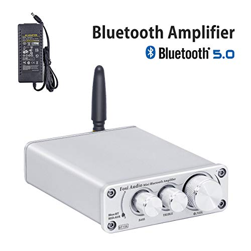 [2020 Upgraded] Bluetooth 5.0 Amplifier Stereo Audio Amp Receiver, 2 Channel Mini Hi-Fi Class D Integrated Amp, for Home Passive Speakers 100W, with 19V 4.74A Power Supply - Fosi Audio BT10A