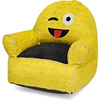 Emoji Pals Soft Faux Fur Kids Sofa Toddler Sized Bean Bag Chair Ideal for Indoors Perfect Lounger for Home, Multiple Patterns - Wink Tounge Out