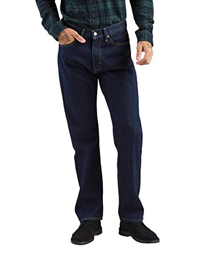 Levi's Men's 505 Regular Fit-Jeans, Rinse - Dark Wash, 38W x 32L]()