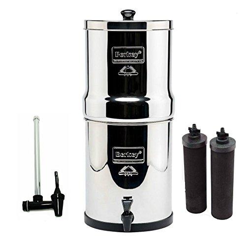 Berkey Water Filter System with 2 Black Berkey Elements and Berkey SG-7.5 Glass Water Level Spigot by Berkey