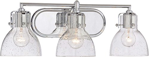 Minka Lavery Urban Industrial Wall Light Fixtures 5723-77 Transitional Bath Glass Bath Vanity Lighting, 3 Light, Chrome