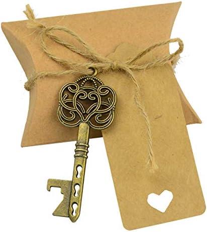 Makhry 50 stks Vintage Rustiek Bruiloft Cadeau Souvenir Set met Skelet Sleutel Flesopeners Bonbondoos Bedankt Label Jute Touw Antiek Brons