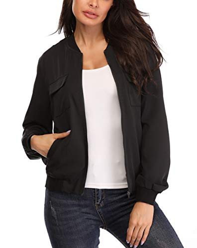 Anienaya Women's Lightweight Jackets Zip Up Coat Rib Collar Multi-Pockets Windbreaker Bomber Jacket Outwear Black - Bomber Rib
