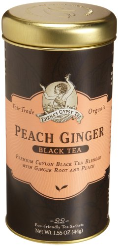 Zhena's Gypsy Tea, Peach Ginger, 22-Count Tea Sachets (Pack of 6)