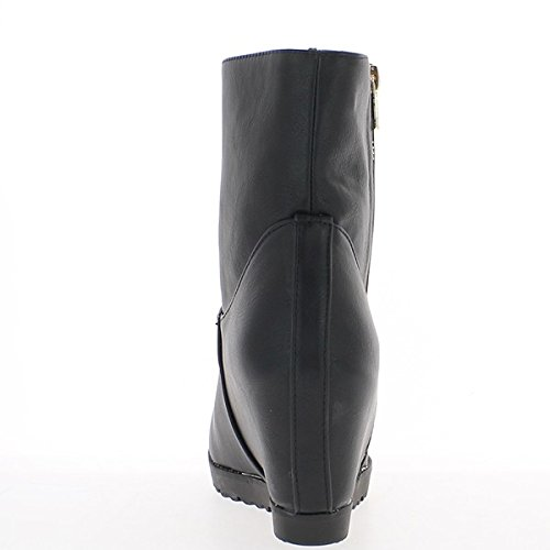 Negro botas en los talones de 8cm y suelas anchas