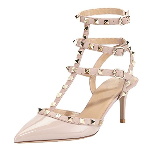 MINIVOG Women's Rivets Buckle Studded T-Strap Pointed-Toe Dress Sandals Nude Patent US8