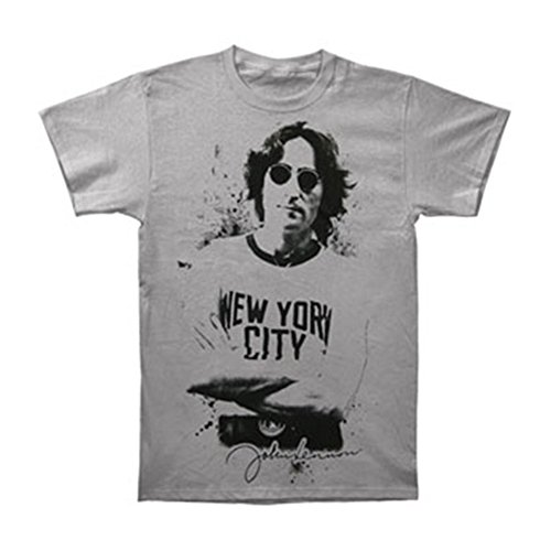 John Lennon Men's Famous New York Image Short Sleeve T-Shirt Silver JL1000 (John Lennon New York T Shirt)